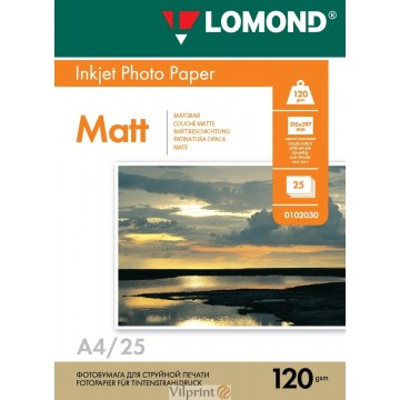 Lomond A4, 120g/m2, 25 lapų, vienpusis matinis fotopopierius (Single Sided Matt Inkjet Photopaper / kodas: 0102030)