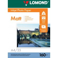 Lomond A4, 160g/m2, 25 lapų, vienpusis matinis fotopopierius (Single Sided Matt Inkjet Photopaper / kodas: 0102031)