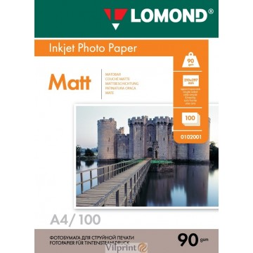 Lomond A4, 90g/m2, 100 lapų, vienpusis matinis fotopopierius (Single Sided Matt Inkjet Photopaper / kodas: 0102001)