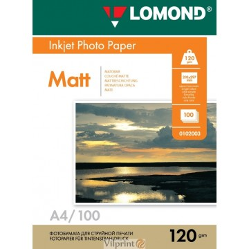 Lomond A4, 120g/m2, 100 lapų, vienpusis matinis fotopopierius (Single Sided Matt Inkjet Photopaper / kodas: 0102003)