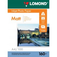 Lomond A4, 160g/m2, 100 lapų, vienpusis matinis fotopopierius (Single Sided Matt Inkjet Photopaper / kodas: 0102005)
