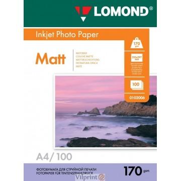 Lomond A4, 170g/m2, 100 lapų, dvipusis matinis/matinis fotopopierius (Double Sided Matt/Matt Inkjet Photopaper / kodas: 0102006)