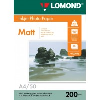 Lomond A4, 200g/m2, 50 lapų, dvipusis matinis fotopopierius (Double Sided Matt/Matt Inkjet Photopaper / kodas: 0102033)