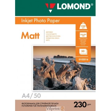 Lomond A4, 230g/m2, 50 lapų, vienpusis matinis fotopopierius (Single Sided Matt Inkjet Photopaper / kodas: 0102016)