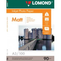 Lomond A3, 90g/m2, 100 lapų, vienpusis matinis fotopopierius (Single Sided Matt Inkjet Photopaper / kodas: 0102011)