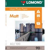 Lomond A3, 90g/m2, 100 lapų, vienpusis matinis fotopopierius (Single Sided Matt Inkjet Photopaper / kodas: 0102011)