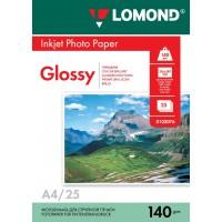Lomond A4, 140g/m2, 25 lapų, vienpusis blizgus fotopopierius (Single Sided Glossy Inkjet Photopaper / kodas: 0102076)