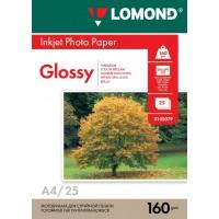 Lomond A4, 160g/m2, 25 lapų, vienpusis blizgus fotopopierius (Single Sided Glossy Inkjet Photopaper / kodas: 0102079)