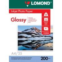 Lomond A4, 200g/m2, 25 lapų, vienpusis blizgus fotopopierius (Single Sided Glossy Inkjet Photopaper / kodas: 0102046)