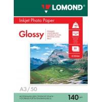 Lomond A3, 140g/m2, 50 lapų, vienpusis blizgus fotopopierius (Single Sided Glossy Inkjet Photopaper / kodas: 0102066)