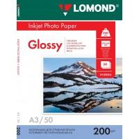 Lomond A3, 200g/m2, 50 lapų, vienpusis blizgus fotopopierius (Single Sided Glossy Inkjet Photopaper / kodas: 0102024)