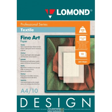 "Lomond A4, 200g/m2, 10 lapų, ""Design Textile"" vienpusis, matinis tekstūrinis fotopopierius (Fine Art Paper Design Textile Matt / kodas: 0919041)"