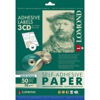 Lomond lipnus, universalaus nepermatomo 70 g/m2 popieriaus lipdukas CD/DVD diskams, A4 lape 3 lipdukai, įšor.skersm.D114mm/vid.skersm.D41mm (kodas: 2001023)