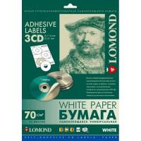 Lomond lipnus, universalaus 70 g/m2 popieriaus lipdukas CD/DVD diskams, A4 lape 3 lipdukai, įšor.skersm.D114mm/vid.skersm.D41mm (kodas: 2101023)