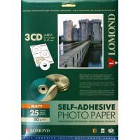 Lomond lipnus, matinio 90 g/m2 fotopopieriaus lipdukas CD/DVD diskams, A4 lape 3 lipdukai, įšor.skersm.D114mm/vid.skersm.D41mm (kodas: 2211023)