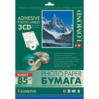 Lomond lipnus, blizgaus 85 g/m2 fotopopieriaus lipdukas CD/DVD diskams, A4 lape 3 lipdukai, įšor.skersm.D114mm/vid.skersm.D41mm (kodas: 2411023)