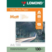 Lomond A4, 130g/m2, 100 lapų, dvipusis matinis/matinis fotopopierius (Double Sided Matt/Matt Inkjet Photopaper / kodas: 0102004)