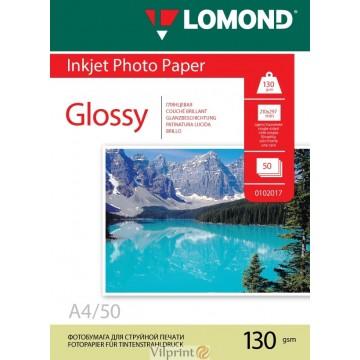 Lomond A4, 130g/m2, 50 lapų, vienpusis blizgus fotopopierius (Single Sided Glossy Inkjet Photopaper / kodas: 0102017)