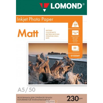Lomond A5, 230g/m2, 50 lapų, vienpusis matinis fotopopierius (Single Sided Matt Inkjet Photopaper / kodas: 0102069)