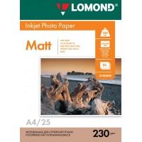Lomond A4, 230g/m2, 25 lapų, vienpusis matinis fotopopierius (Single Sided Matt Inkjet Photopaper / kodas: 0102050)