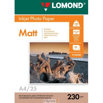Lomond A4, 230g/m2, 25 lapų, vienpusis matinis fotopopierius (Single Sided Matt Inkjet Photopaper / kodas: 0102050)