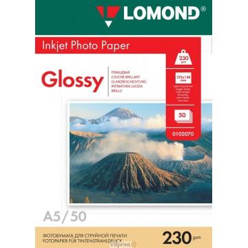 Lomond A5, 230g/m2, 50 lapų, vienpusis blizgus fotopopierius (Single Sided Glossy Inkjet Photopaper / kodas: 0102070)