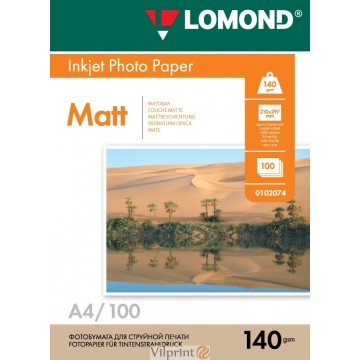 Lomond A4, 140g/m2, 100 lapų, vienpusis matinis fotopopierius (Single Sided Matt Inkjet Photopaper / kodas: 0102074)