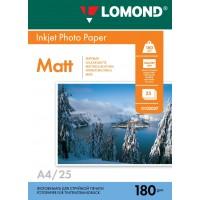 Lomond A4, 180g/m2, 25 lapų, vienpusis matinis fotopopierius (Single Sided Matt Inkjet Photopaper / kodas: 0102037)