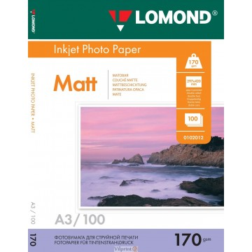 Lomond A3, 170g/m2, 100 lapų, dvipusis matinis/matinis fotopopierius (Double Sided Matt/Matt Inkjet Photopaper / kodas: 0102012)