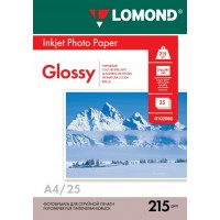Lomond A4, 215g/m2, 25 lapų, vienpusis blizgus fotopopierius (Single Sided Glossy Inkjet Photopaper / kodas: 0102080)