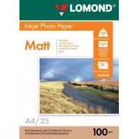 Lomond A4, 100g/m2, 25 lapų, dvipusis matinis/matinis fotopopierius (Double Sided Matt/Matt Inkjet Photopaper / kodas: 0102038)