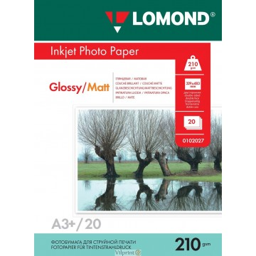 Lomond A3+, 210g/m2, 20 lapų, dvipusis blizgus/matinis fotopopierius (Double Sided Glossy/Matt Inkjet Photopaper / kodas: 0102027)