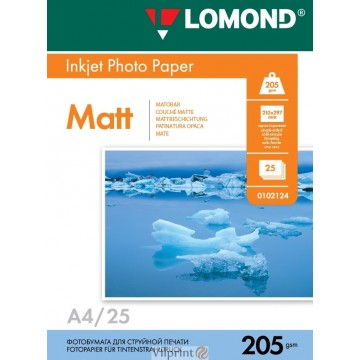 Lomond A4, 205g/m2, 25 lapų, vienpusis matinis fotopopierius (Single Sided Matt Inkjet Photopaper / kodas: 0102124)