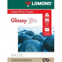 Lomond A4, 170g/m2, 25 lapų, vienpusis blizgus fotopopierius (Single Sided Glossy Inkjet Photopaper / kodas: 0102143)