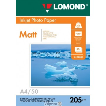 Lomond A4, 205g/m2, 50 lapų, vienpusis matinis fotopopierius (Single Sided Matt Inkjet Photopaper / kodas: 0102085)