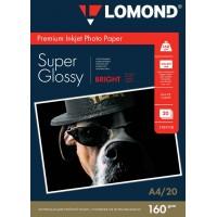 """Lomond A4, 160g/m2, 20 lapų, """"Premium"""" itin blizgus šviesus vienpusis fotopopierius (Premium Photo Inkjet Paper Super Glossy Bright Non-PE / kodas : 1101110)"""
