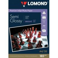 """Lomond A4, 185g/m2, 20 lapų, """"Premium"""" vienpusis šviesus pusiau blizgus fotopopierius  (Premium Photo Inkjet Paper Semi Glossy Bright Non-PE / kodas : 1101306)"""