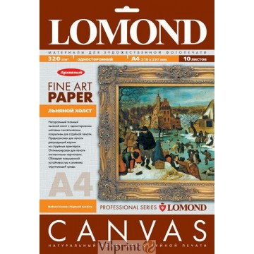 Lomond A4, 320g/m2, 10 lapų, vienpusė natūrali drobė (Fine Art Canvas for dye based inks / kodas: 0908421)