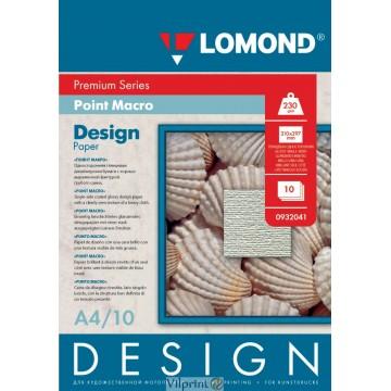 "Lomond A4, 230g/m2, 10 lapų, ""Point Macro"" vienpusis, blizgus tekstūrinis fotopopierius (Fine Art Paper Design Premium Point Macro Glossy / kodas: 0932041)"