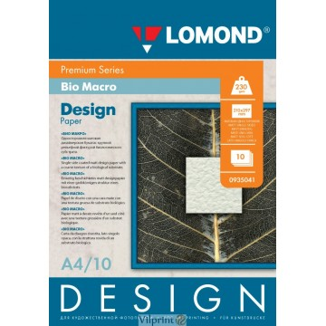 "Lomond A4, 230g/m2, 10 lapų, ""Bio Macro"" vienpusis, matinis tekstūrinis fotopopierius (Fine Art Paper Design Premium Bio Macro Matte / kodas: 0935041)"