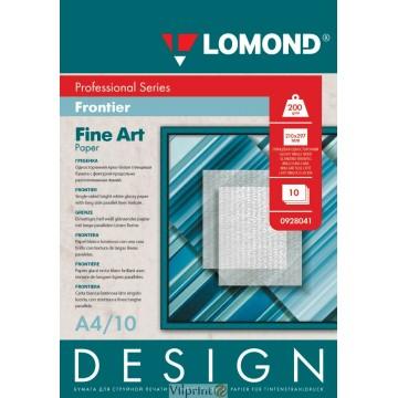 "Lomond A4, 200g/m2, 10 lapų, ""Frontier"" vienpusis, blizgus tekstūrinis fotopopierius (Fine Art Paper Design Frontier Glossy / kodas: 0928041)"