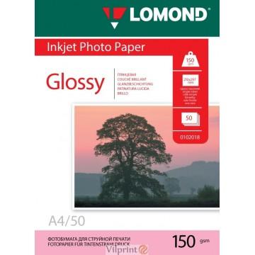 Lomond A4, 150g/m2, 50 lapų, venpusis blizgus fotopopierius (Single Sided Glossy Inkjet Photopaper / kodas: 0102018)