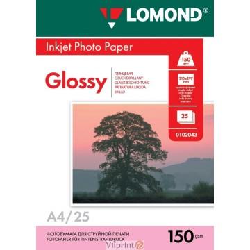 Lomond A4, 150g/m2, 25 lapų, venpusis blizgus fotopopierius (Single Sided Glossy Inkjet Photopaper / kodas: 0102043)