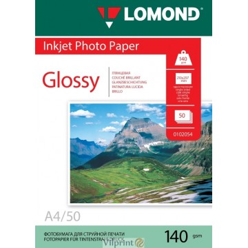 Lomond A4, 140g/m2, 50 lapų, vienpusis blizgus fotopopierius (Single Sided Glossy Inkjet Photopaper / kodas: 0102054)