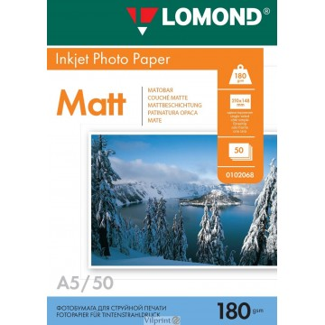 Lomond A5, 180g/m2, 50 lapų, vienpusis matinis fotopopierius (Single Sided Matt Inkjet Photopaper / kodas: 0102068)