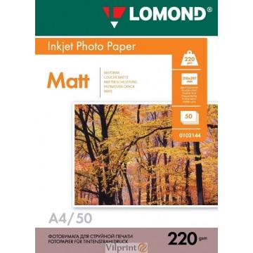 Lomond A4, 220g/m2, 50 lapų, dvipusis matinis/matinis fotopopierius (Double Sided Matt/Matt Inkjet Photopaper / kodas: 0102144)