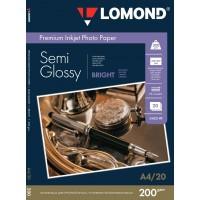 Lomond A4, 200g/m2, 20 lapų, vienpusis pusiau blizgus fotopopierius (Semi Glossy Bright Microporous Inkjet Photopaper / kodas: 0102149)