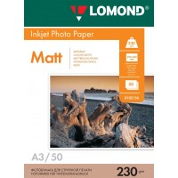 Lomond A3, 230g/m2, 50 lapų, vienpusis matinis fotopopierius (Single Sided Matt Inkjet Photopaper / kodas: 0102156)