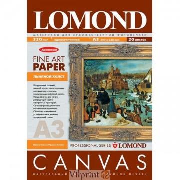 Lomond A3, 340g/m2, 20 lapų, vienpusė šviesi medvilnės drobė (Fine Art Natural Cotton Canvas Bright / kodas: 0908332)