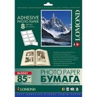 Lomond A4, 85g/m2, 25 lapai, 8 etiketės lape (60 x 90mm), blizgus, lipnus popierius rašaliniam spausdintuvui (Self Adhesive Photo Paper Glossy 8 labels / kodas 2412053)